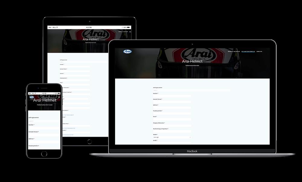 Arai Helmet - RMA Webapplicatie